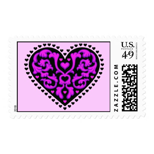Elegant Ornate Black Pink Heart Postage Stamps
