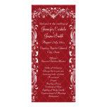 Elegant Ornate Flourish Red Wedding Programs Custom Rack Card