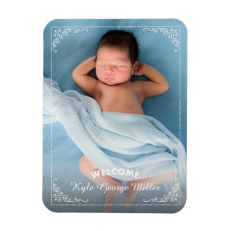 Elegant Ornate Frame Welcome Birth Announcement Magnet