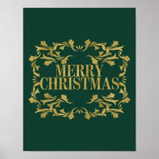 Elegant Ornate Gold Merry Christmas Poster Sign