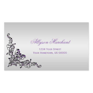 Elegant Ornate Purple Silver Swirls on Silver Double-Sided Standard Business Cards (Pack Of 100)