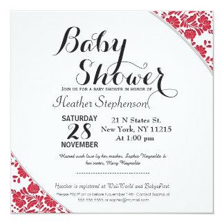 Elegant Ornate Red & White Damask Pattern 5.25x5.25 Square Paper Invitation Card
