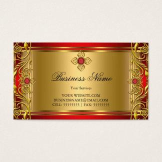 Elegant Ornate Royal Red Jewel Golden Gold Business Card