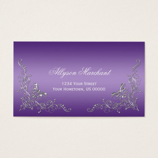 Elegant Ornate Silver Swirls on Purple Ombre Business Card
