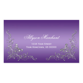 Elegant Ornate Silver Swirls on Purple Ombre Double-Sided Standard Business Cards (Pack Of 100)