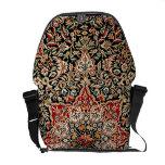 Elegant Ornate Vintage Tapestry in Black Courier Bag