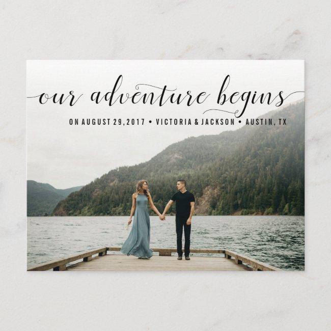Elegant Our Adventure Save the Date Photo Announcement Postcard