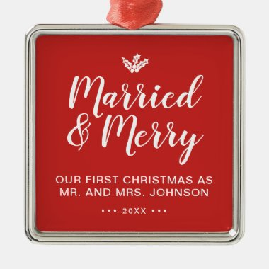 Elegant Our First Christmas Married and Merry Red Metal Ornament