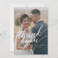 Elegant Overlay Hand Lettered Script Wedding Photo Thank You Card