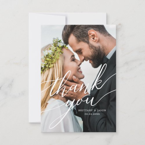 Elegant Overlay Hand Lettered Script Wedding Photo Thank You Card