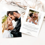 """Elegant Overlay Hand Lettered Script Wedding Photo Thank You Card<br><div class=""""desc"""">Elegant and stylish wedding thank you template 2-sided card featuring a hand lettered typography script that says thank you on top of your photo. You can add another square photo on the back along with the message on the back of the card that's editable. This modern and simple design is...</div>"""