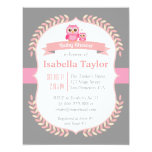 Elegant Owl Baby Girl Shower 4.25x5.5 Paper Invitation Card