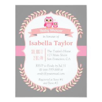 "Elegant Owl Baby Girl Shower 4.25"" X 5.5"" Invitation Card"