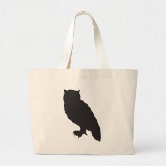 Elegant owl black silhouette vector graphic large tote bag