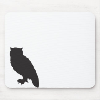 Elegant owl black silhouette vector graphic mouse pad