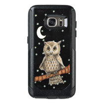 Elegant Owl Blue Necklace in Moonlight white Stars OtterBox Samsung Galaxy S7 Case