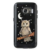 Elegant Owl Blue Necklace in Moonlight white Stars OtterBox Samsung Galaxy S7 Case