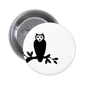 Elegant owl & branch silhouette vector graphic button