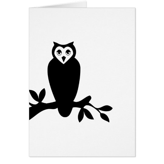 Elegant owl & branch silhouette vector graphic card