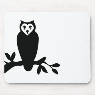 Elegant owl & branch silhouette vector graphic mouse pad