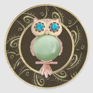 Elegant Owl Jewels Photo Print Stickers