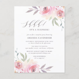 Elegant Painted Floral Surprise Birthday Party Invitation Postcard