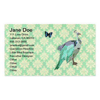 Elegant Painted Peacock Mint Julep Damask Card Business Card