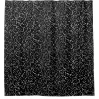 Elegant Painted White Scrolling Curves on Black Shower Curtain