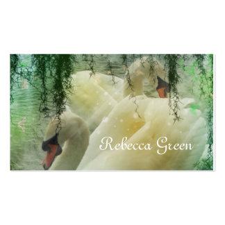Elegant pair of white swans business card