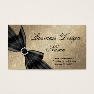 Elegant Paisley Brown Gold Black Diamond Bow Business Card