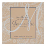 Elegant Paisley Save the Date with Monogram Invitations