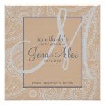 Elegant Paisley Save the Date with Monogram Custom Invite