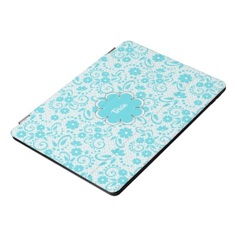 Elegant paisley style aqua and white iPad pro cover