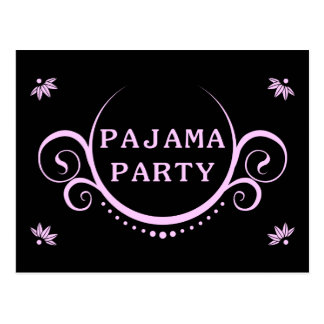 elegant pajama party invitation postcard