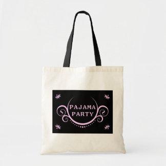 elegant pajama party invitation tote bag