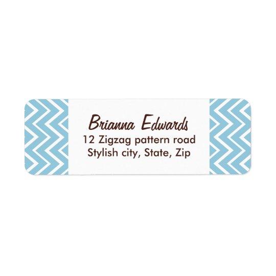 Elegant pale blue chevron zigzag pattern custom label