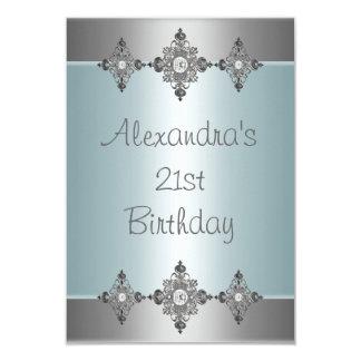 Elegant Pale Blue Silver Jewel 21st Birthday Invite