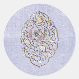 Elegant Pale Blue Vintage Wedding Envelope Seals Classic Round Sticker