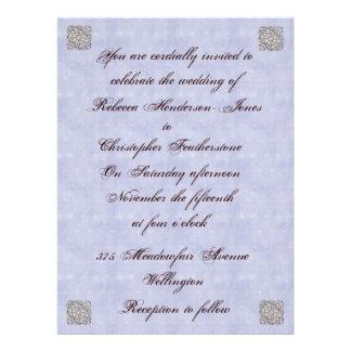 Elegant Pale Blue Vintage Wedding Invitation