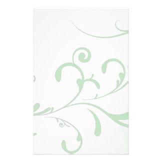 Elegant Pale Green Flourish Stationery