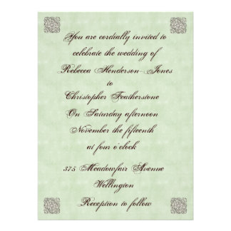 Elegant Pale Green Vintage Wedding Invitation