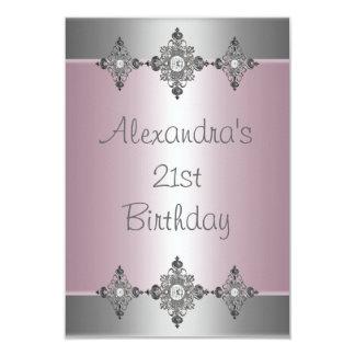 Elegant Pale Pink Silver Jewel 21st Birthday Invitation