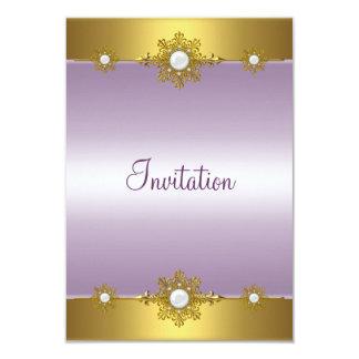 Elegant Pale Purple Gold White Jewel Event Custom Announcements