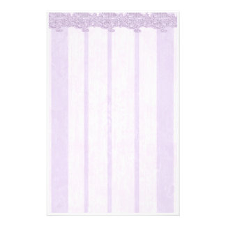 Elegant Pale Purple Lace Stationery Paper