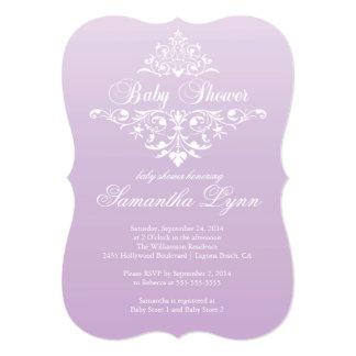 Elegant Pale Purple Ombre Baby Shower Invitation