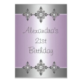 Elegant Pale Purple Silver Jewel 21st Birthday Personalized Invitations