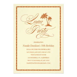Elegant Palm Tree Hawaiian Luau Party Invitations