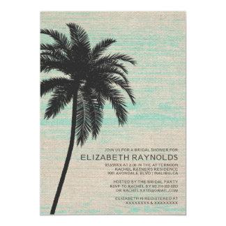"Elegant Palm Trees Burlap Bridal Shower Invitation 5"" X 7"" Invitation Card"
