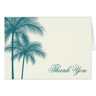 Elegant Palm Trees Teal Ecru Thank You Card