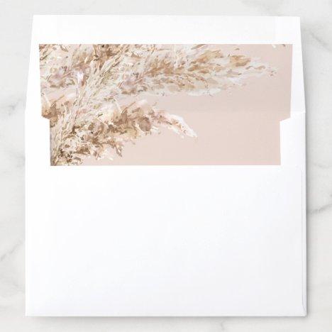 Elegant Pampas Grass wedding Envelope Liner